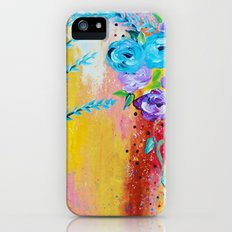 MORE IS MORE - Gorgeous Floral Abstract Acrylic Bouquet Colorful Ikat Roses Summer Flowers Painting Slim Case iPhone (5, 5s)