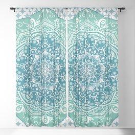 Blue Green Lotus Mandala Sheer Curtain