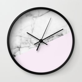 Real White Marble Half Baby Pink Modern Abstract Shapes Wall Clock