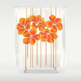 Hibiscus Stripe: Orange Tangerine Shower Curtain