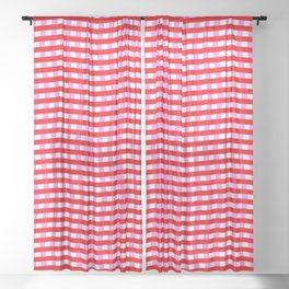 Red Pink and White Zigzag Optical Illusion Pattern Sheer Curtain