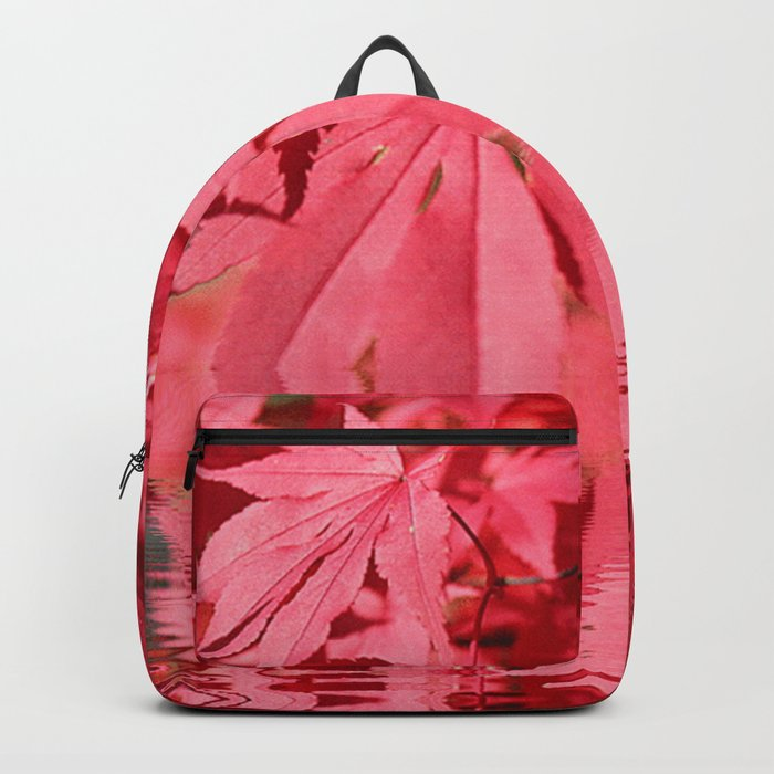 Red Maple Leaves Reflections Backpack