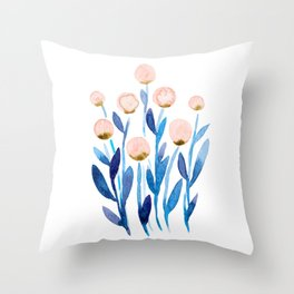 Simple watercolor flowers - orange and blue Throw Pillow