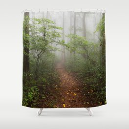 Adventure Ahead - Foggy Forest Digital Nature Photography Shower Curtain