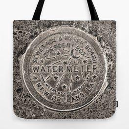 Sepia New Orleans Water Meter Louisiana Crescent City NOLA Water Board Metalwork Tote Bag