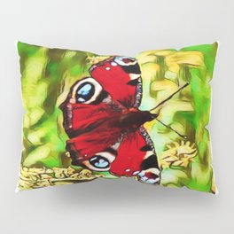 Peacock Butterfly Dream | Aglais io - Oil Painting  Pillow Sham