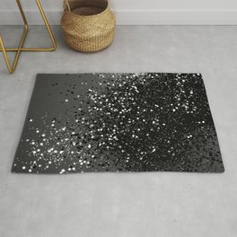 Dark Gray Black Lady Glitter #1 #shiny #decor #art #society6 Rug
