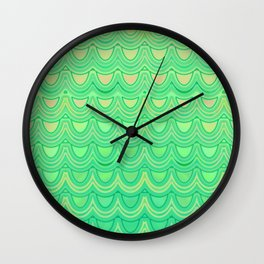 Mermaid Scales Yellow Green Wall Clock