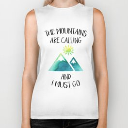 Mountains are calling green watercolor Biker Tank
