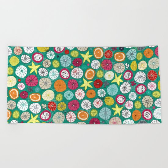 umbrellas jade Beach Towel