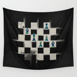 Chessboard and Marble Chess Pieces composition Wall Tapestry
