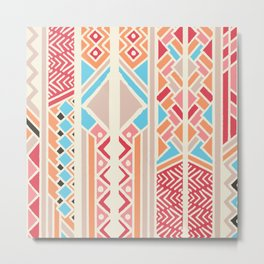 Tribal ethnic geometric pattern 033 Metal Print