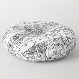 Veggie Seeds Patten - Line Art Floor Pillow