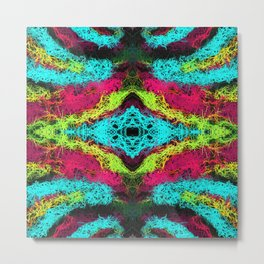 psychedelic graffiti geometric drawing abstract in blue pink yellow Metal Print