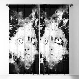 cute cat blue eyes splatter watercolor black white Blackout Curtain