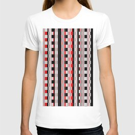 Rectangles red colors T-shirt
