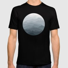Silver Dew Mountains MEDIUM Mens Fitted Tee Black