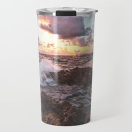 Seascape at sunset in a rocky beach Travel Mug