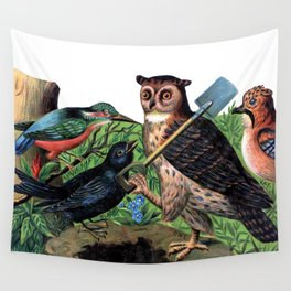 Vintage Owl with Shovel Wall Tapestry