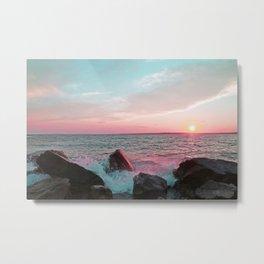 Pink and Blue Sunset Over Newport Rhode Island Metal Print