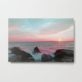 Pink and Blue Sunset Over Newport Rhode Island Metal Print