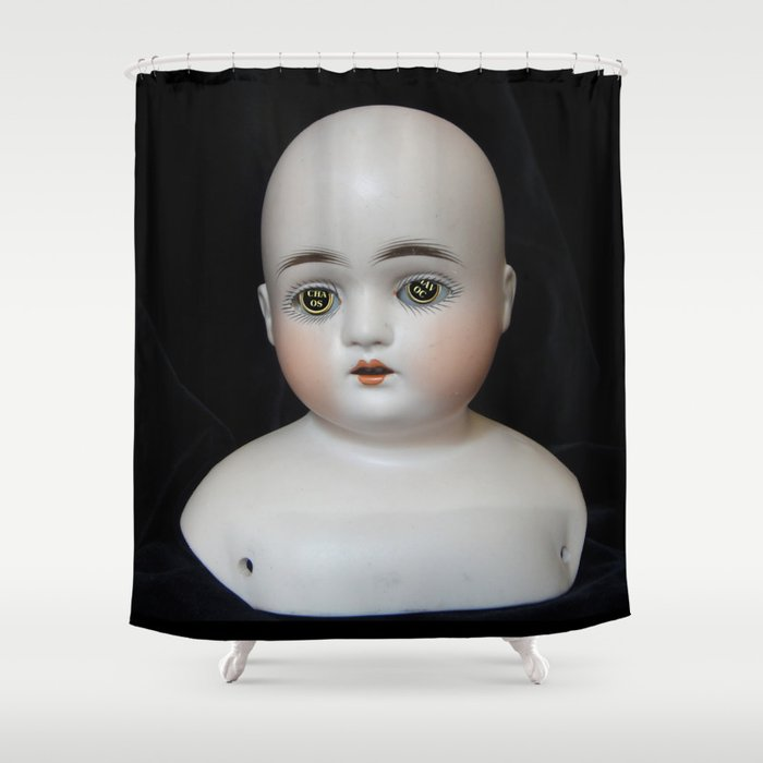 Typewriter Key Creepy Mentalembellisher Doll Shower Curtain By
