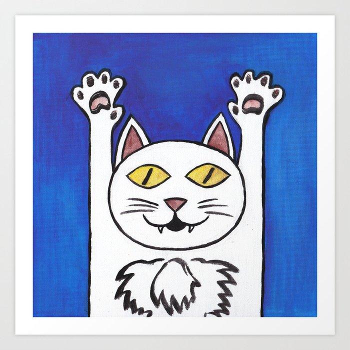 Hurray Cat Art Print By Esoptron