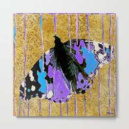 Butterfly Vison in Blue and Purple Metal Print