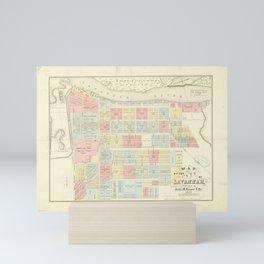 Vintage Savannah GA Map (1856) Mini Art Print