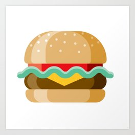 Delicious Cheeseburger Art Print