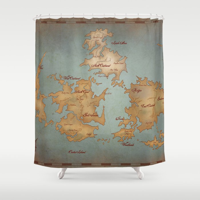 Gaia World Map Final Fantasy VII Shower Curtain by kazpalladino