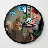 laptop Wall Clocks featuring Laptop by Josue Noguera