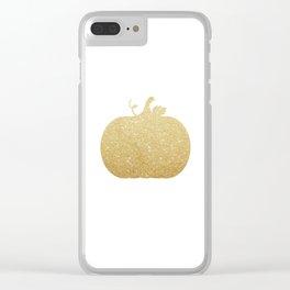 Gold Glitter Pumpkin Clear iPhone Case