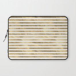 Gold & White Stripe Pattern Laptop Sleeve