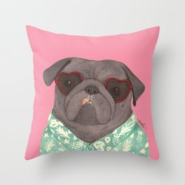 Hawaiian Pug Throw Pillow