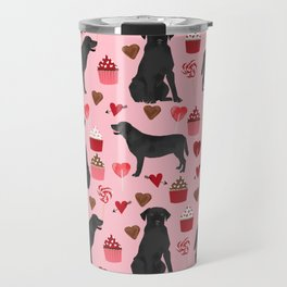 Black Lab valentines day pattern gifts dog pattern with hearts and cupcakes perfect for valentine Travel Mug