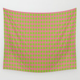 Pink and Green Argyle Pattern Wall Tapestry