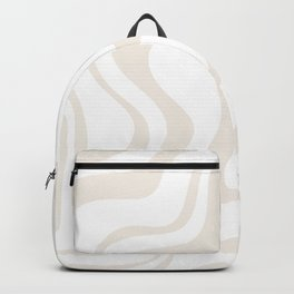 Liquid Swirl Abstract Pattern in Pale Beige and White Backpack