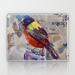 Painted Bunting Bird on Newsprint Laptop & iPad Skin