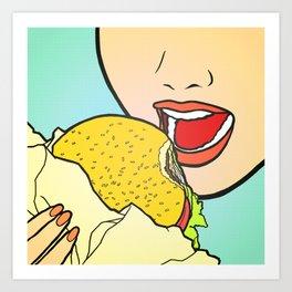 Burger Girl Art Print
