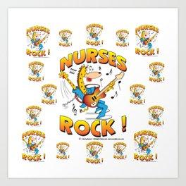 Nurses Rock Pattern Art Print