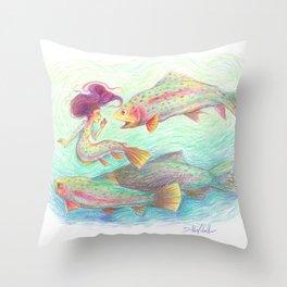 Rainbow Trout Mermaid Illustration Throw Pillow