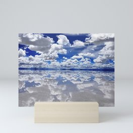 Salar de Uyuni, Bolivia Salt Flats Mirrored Lake with clouds color photography / photographs Mini Art Print