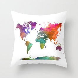 World map in watercolor 25 Throw Pillow
