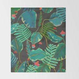 dark tropical red flowers Throw Blanket