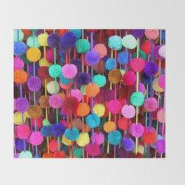 Rainbow Pom-poms (Horizontal) Throw Blanket
