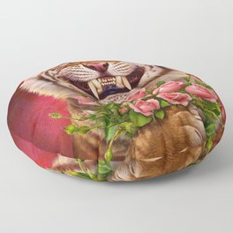 Smiling (shy) Tiger - holding bouquet (rose) Floor Pillow