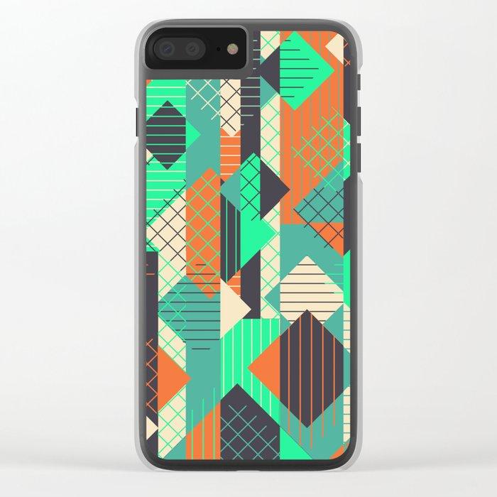 Squares Grids Stripes II (Modern Retro Color Palette) Clear iPhone Case