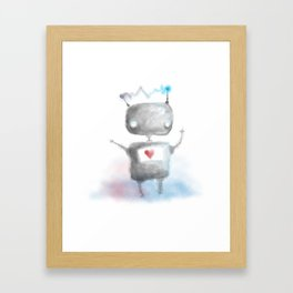 Robot Heartfelt Framed Art Print