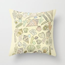 sea shells by the seashore treasures from the sea // retro surf art by surfy birdy Throw Pillow
